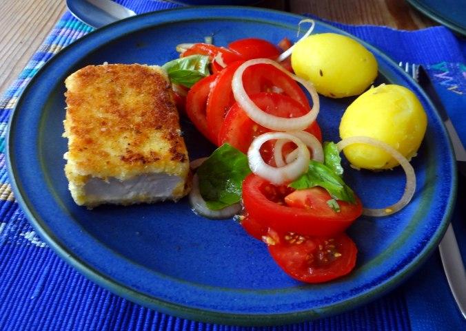 Gebratener Feta,Tomatensalat,Pellkartoffeln,Muffins,Apfelmuffins,vegetarisch (14)