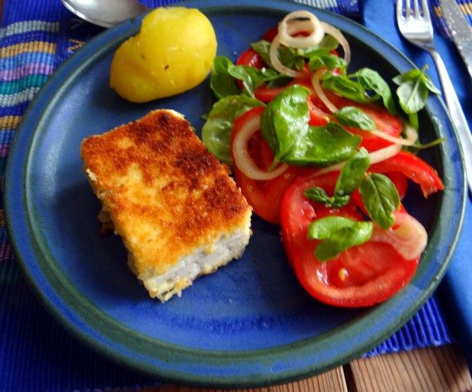 Gebratener Feta,Tomatensalat,Pellkartoffeln,Muffins,Apfelmuffins,vegetarisch (15)