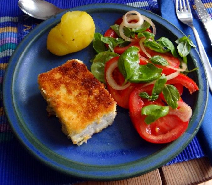 Gebratener Feta,Tomatensalat,Pellkartoffeln,Muffins,Apfelmuffins,vegetarisch (2)