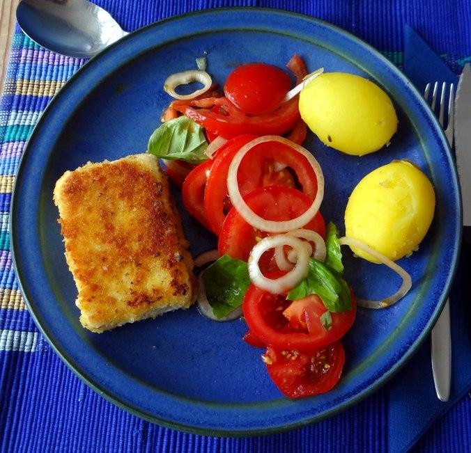 Gebratener Feta,Tomatensalat,Pellkartoffeln,Muffins,Apfelmuffins,vegetarisch (3)