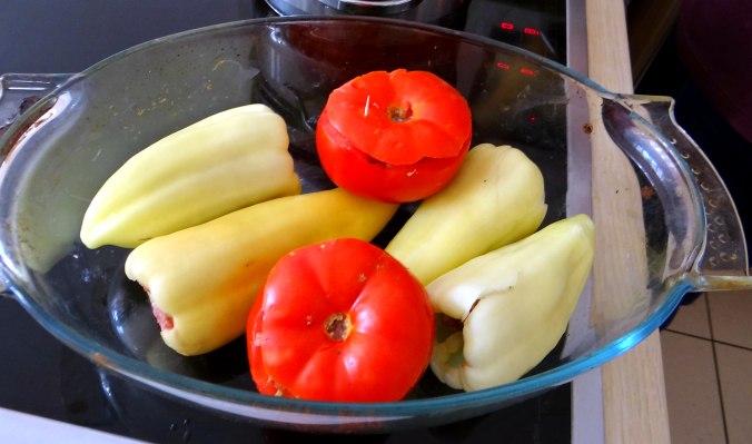 Gefüllte Paprika-Tomaten,Pellkartoffeln,Quarkspeise (11)