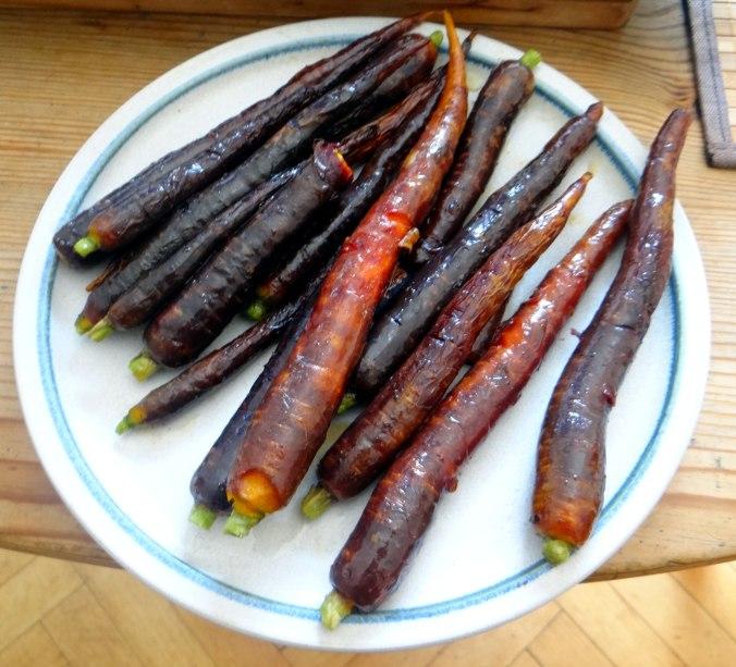 Lauwarmer Zucchinisalt,gedämpfte Möhren,Gurkensalat,Guacamole (8)