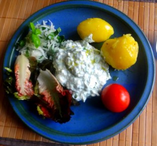 Quark,Pellkartoffeln,Kohlrabisalat,Roemersalat,Dessert (13)