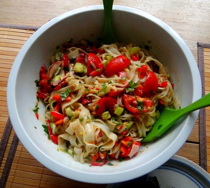 Reisnudelsalat-leicht asiatisch,gefüllte Weinblätter,Apfelmus (9)