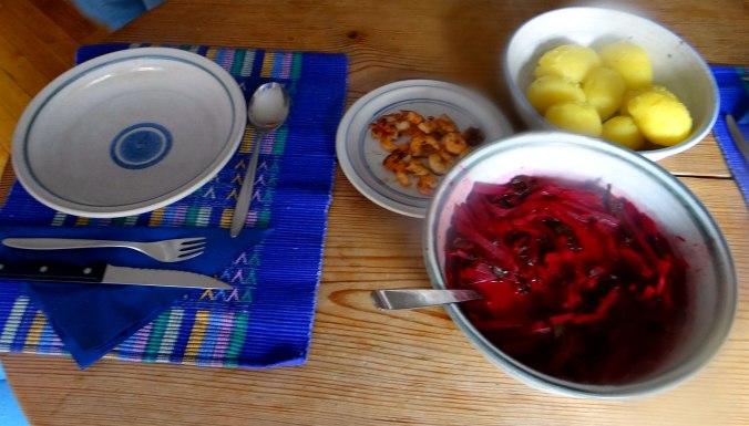 Rote Beete Gemüse,Garnelen,Pellkartoffeln (18)