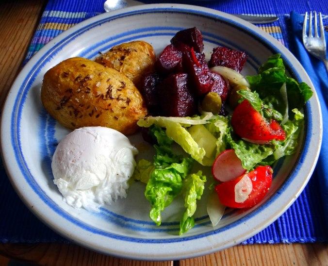 Rote Beete Gemüse,Kümmelkartoffeln,Salat,Quarkspeise,vegetarisch (16)