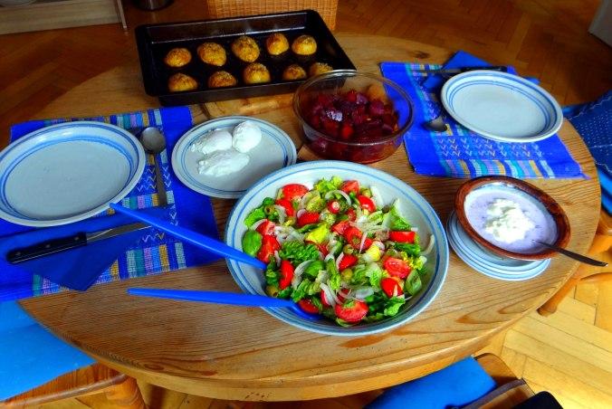 Rote Beete Gemüse,Kümmelkartoffeln,Salat,Quarkspeise,vegetarisch (5)