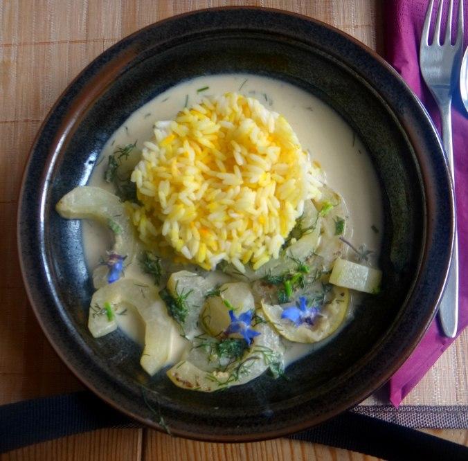 Schmorgurken,Reis,Eierpfannkuchen (1)