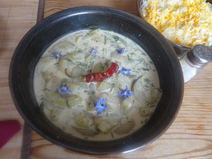 Schmorgurken,Reis,Eierpfannkuchen (3)
