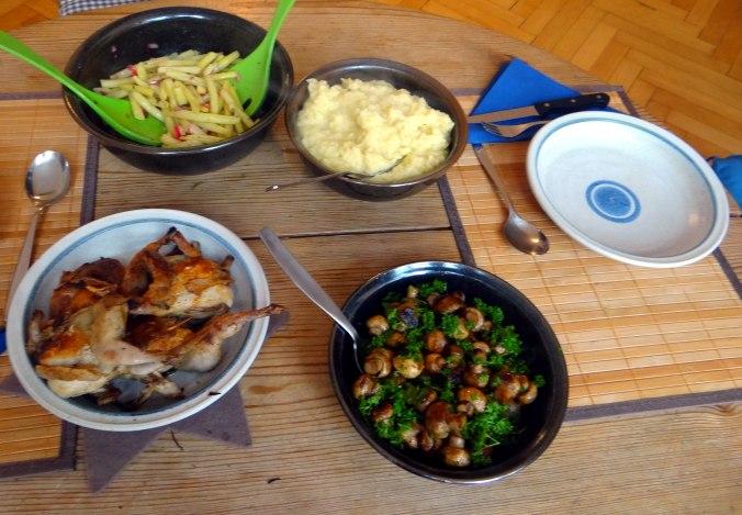 Wachteln,Kartoffel-Sellerie Stamp,Bohnensalat,Champignon (4)