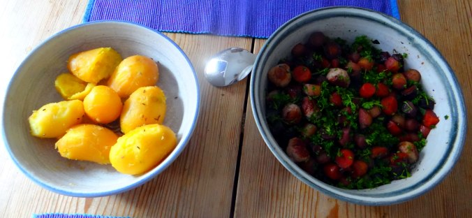Bunte Möhren,Pellkartoffeln,Pflaumenkompott,vegetarisch (17)