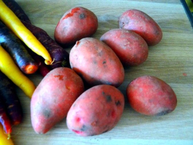Bunte Möhren,Pellkartoffeln,Pflaumenkompott,vegetarisch (7)