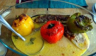 Gefüllte Paprika,Schmorgurke,Tomate,Zucchini,Reis,Bananeneis (18)