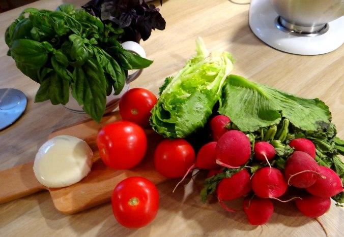 Herrzhafte Muffin,Rote Beete Salat,Geschmorte Radieschen,Tomaten mit Mozarella,Römersalat (4)