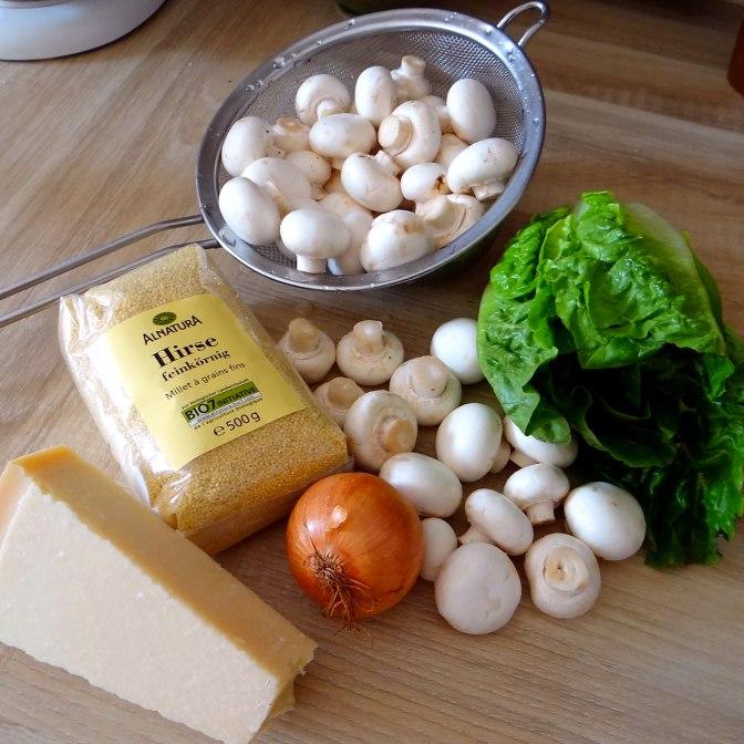 Hirsotto mit Champignon,Salat,Joghurt Eis,vegetarisch (6)