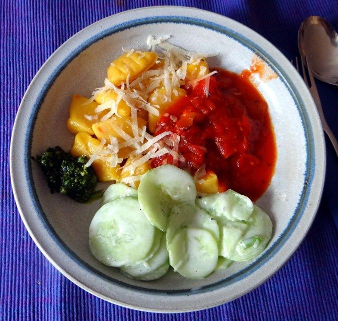 Kartoffel-Kürbis Gnocchis,Tomatensoße,Gurkensalat,vegetarisch (21)