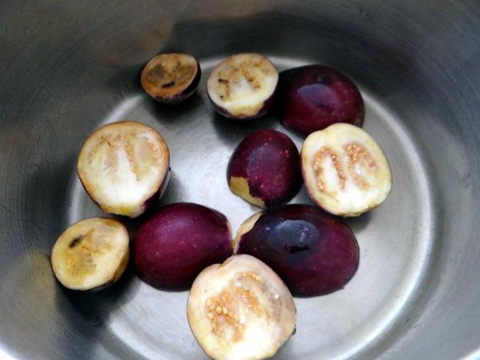 Nudeln mit Venusmuscheln,Wasserspinat und Baby Auberginenn,Pfannküchlein mit Plattpfirsich (7)