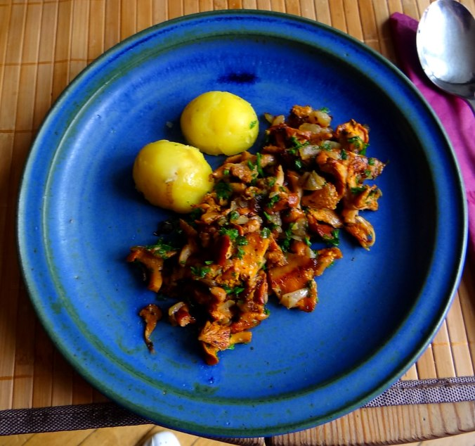 Pfifferlinge,Pellkartoffeln,Spillingskompott,vegetarisch (1)
