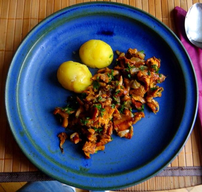 Pfifferlinge,Pellkartoffeln,Spillingskompott,vegetarisch (11)