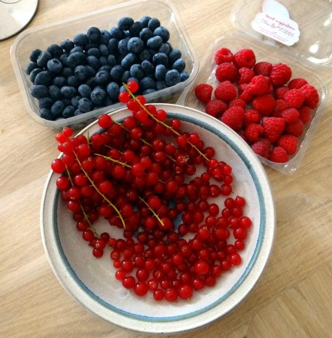 Rote Grütze,Quarkwaffeln (4)