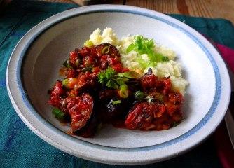 Süß-saures Auberginengemüse,CousCous,Salat,vegetarisch (13)