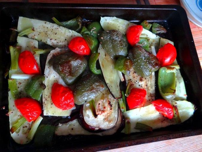 Glasierte Süßkartoffeln und Ofengemüse (13)