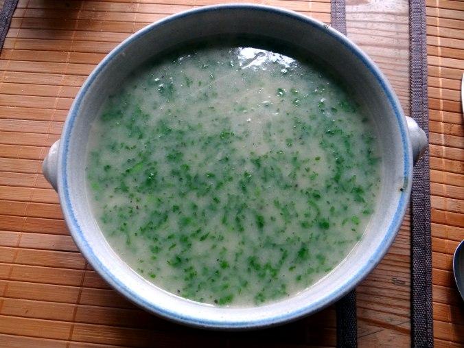 Wickelklöße,Petersiliensoße,Gurkensalat,Joghurtspeise (26)