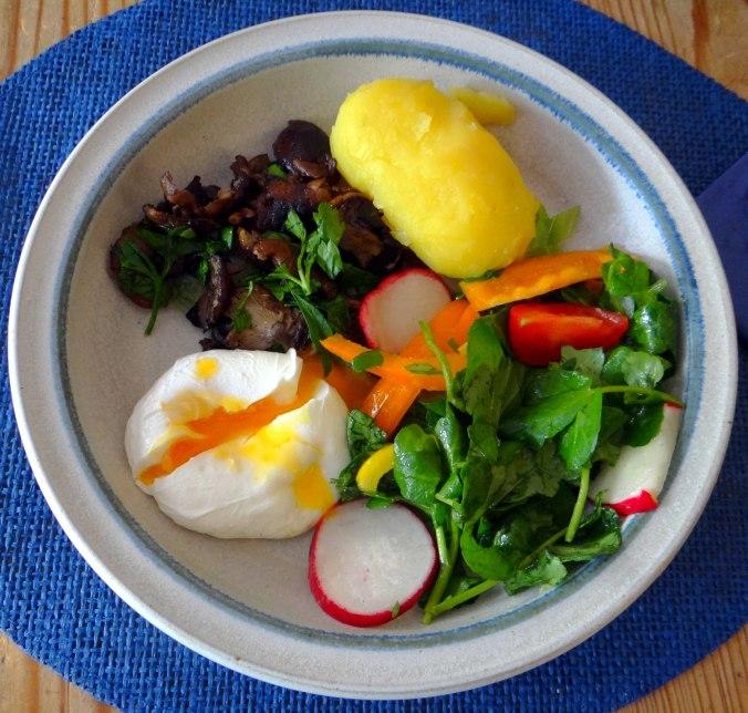 Hallimasch,Brunnenkresse,pochiertes Ei ,vegetarisch(2)