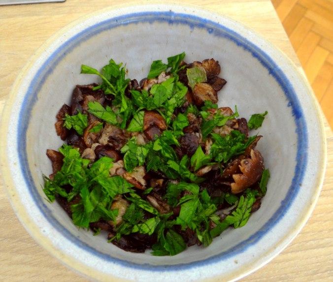 Hallimasch,Brunnenkresse,pochiertes Ei ,vegetarisch(8)