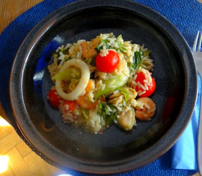 Meeresfrüchte,Pak Choi,Reis (1)