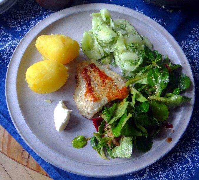 Rotbarsch,Salate,gebackene Quitten (1)