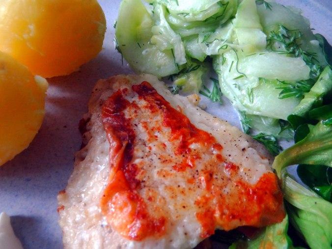 Rotbarsch,Salate,gebackene Quitten (4)
