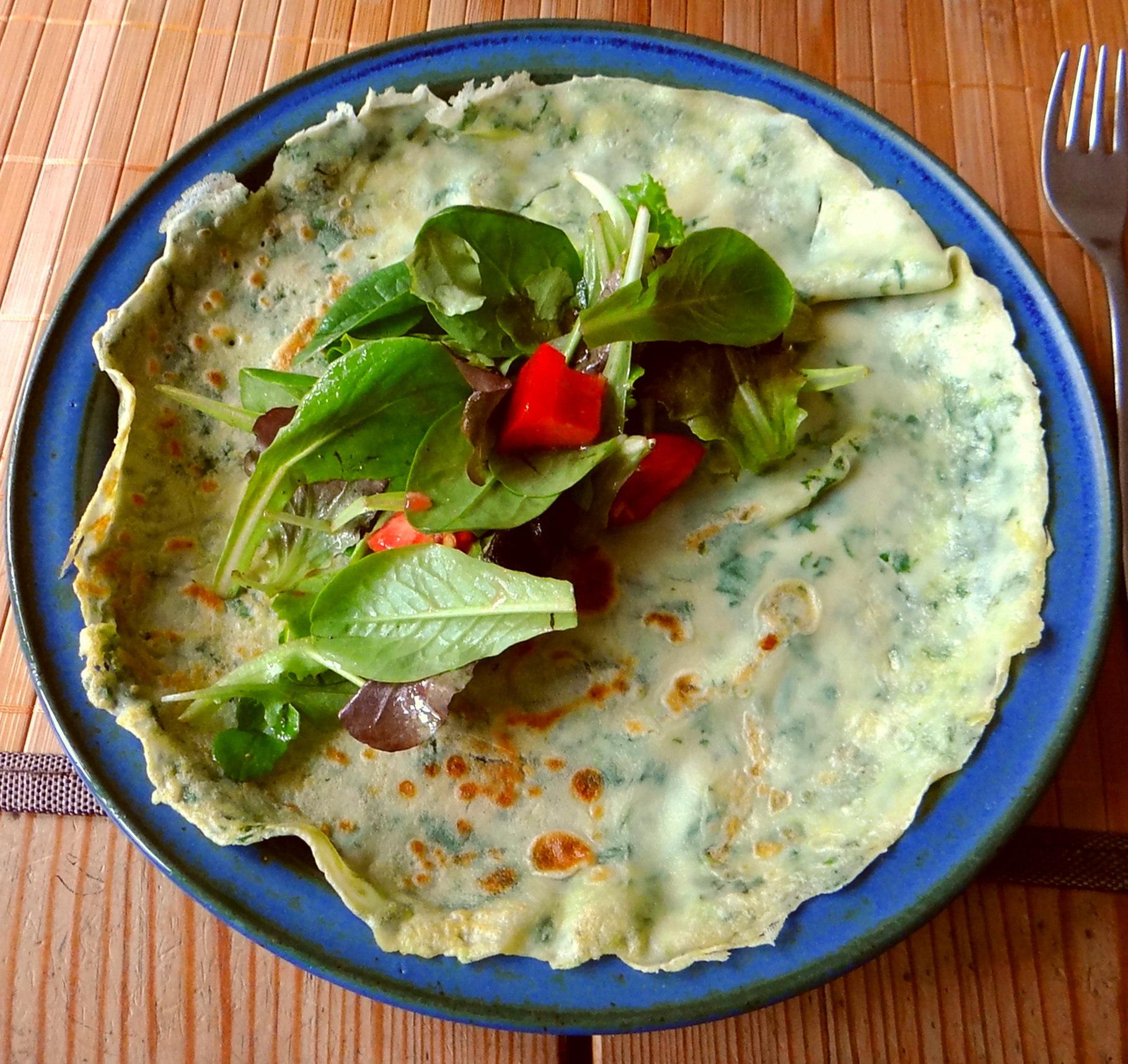 Eierpfannkuchen mit Spinat,Pflücksalat (17)