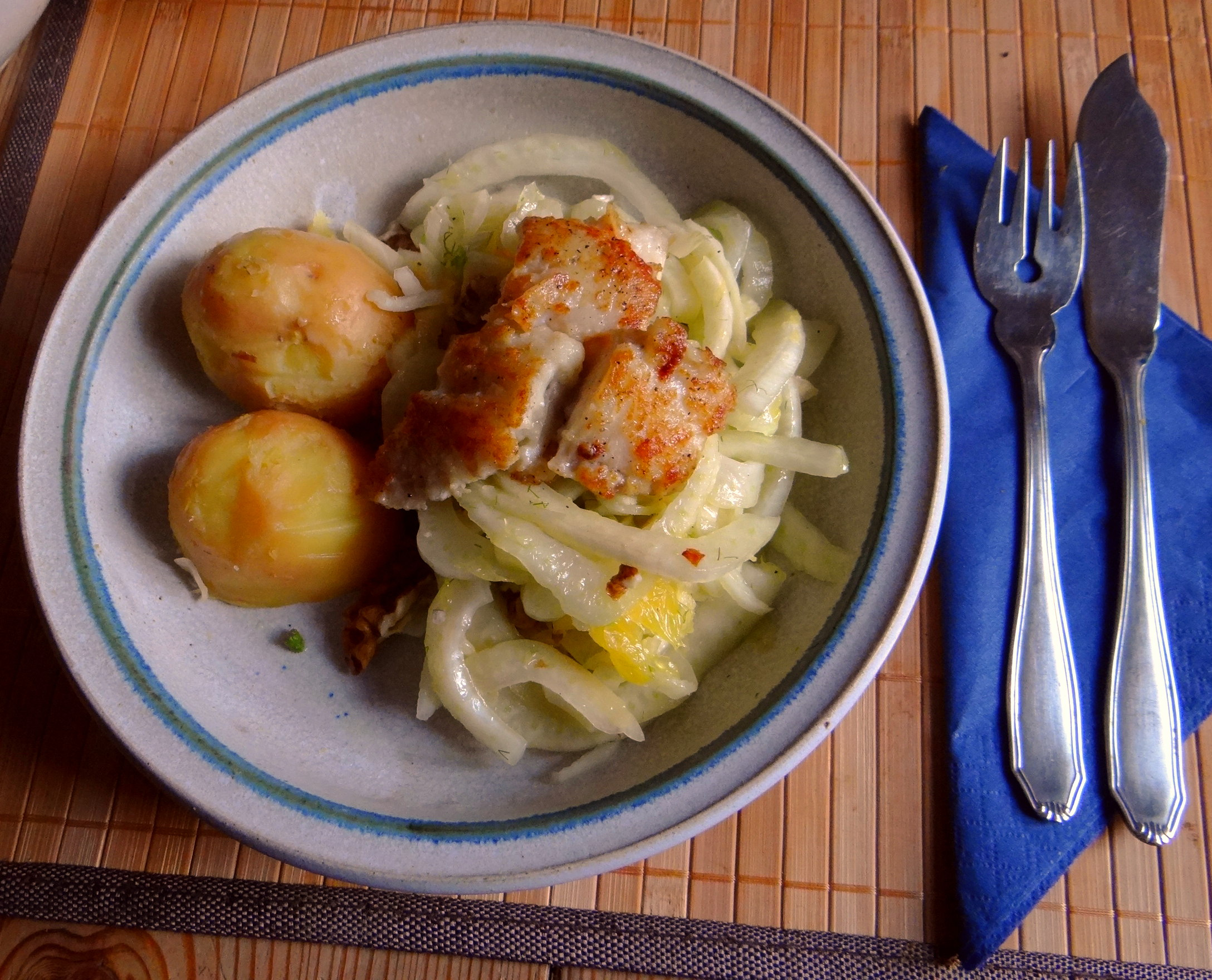 Kabeljau,Fenchel Salat,Kartoffeln,Birnen in Rotwein (1)