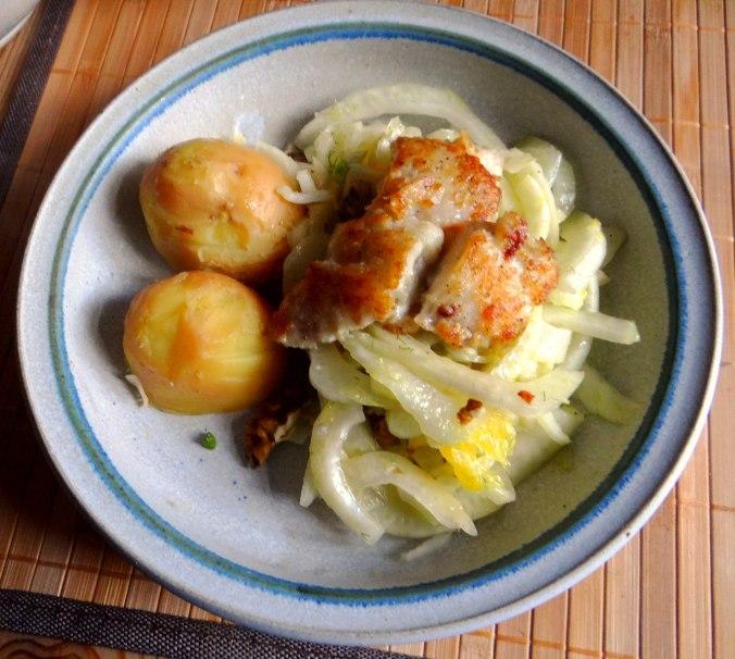 Kabeljau,Fenchel Salat,Kartoffeln,Birnen in Rotwein (13)