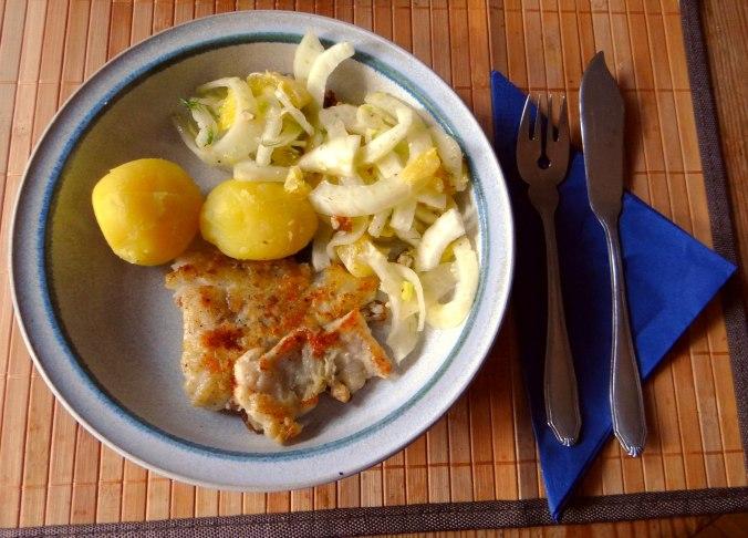 Kabeljau,Fenchel Salat,Kartoffeln,Birnen in Rotwein (2)