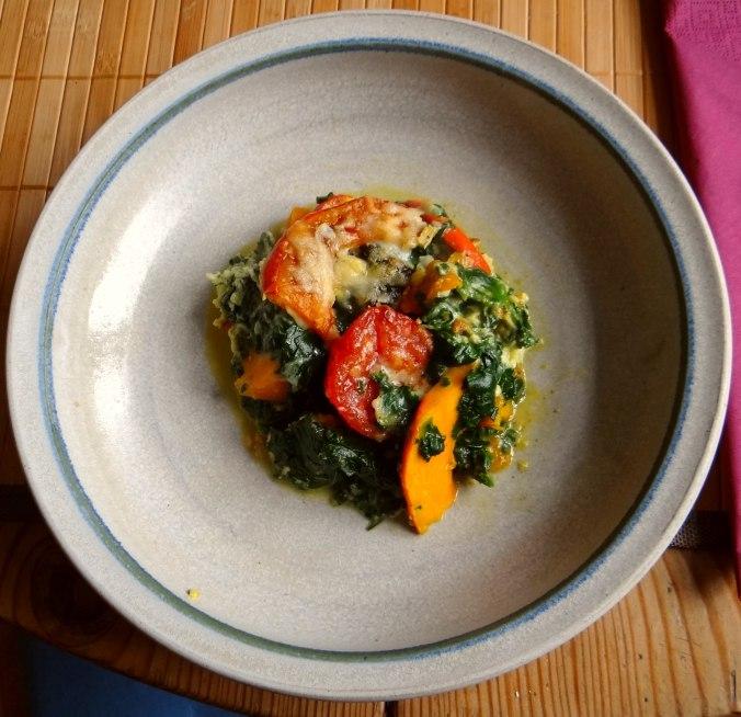 Kürbis-Spinat überbacken,Waffel (1)