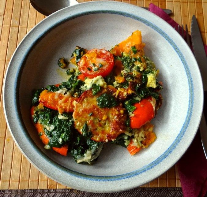 Kürbis-Spinat überbacken,Waffel (2)