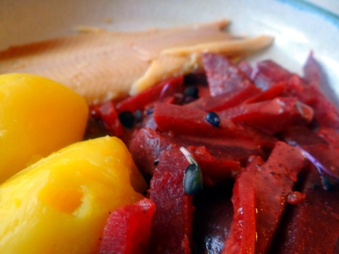 Rote Beete Gemüse,Geräucherte Forelle,Kartoffeln,Obstsalat (3)