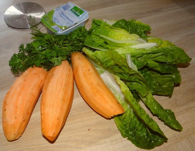 Süßkartoffel Pommes,Dip,Salat (6)