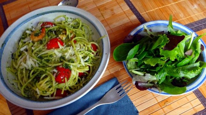 Spaghetti,Bärlauchpesto,Garnelen,Pflücksalat (13)