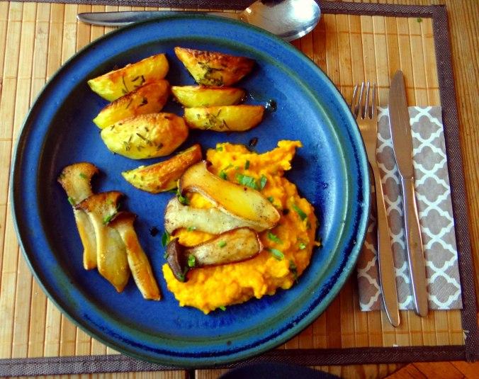 Kräuterseiling,Kartoffel Spalten,Kürbispüree (1)