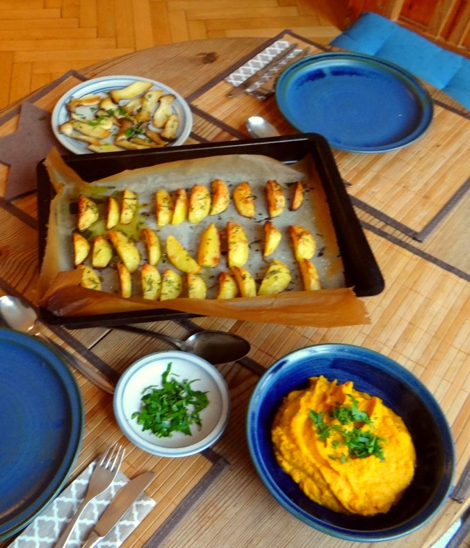 Kräuterseiling,Kartoffel Spalten,Kürbispüree (4)