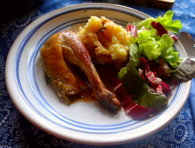 Perlhuhn,Kartoffel-Selleriestampf,Salat,Obstsalat (1)